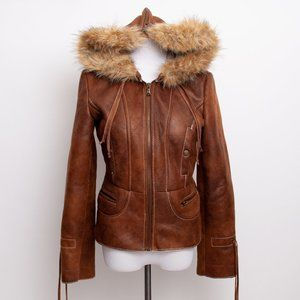 Guess Faux Leather Jacket Faux Fur Lined Zip Hood